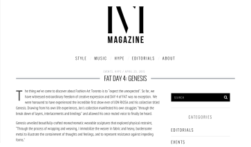 IVI magazine, toronto, genesis, jon riosa, fashion art toronto, 2015