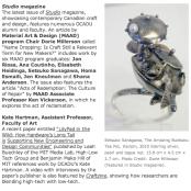studio magazine, OCAD University, jon riosa, dorie millerson, textile, artist, professor, alumni