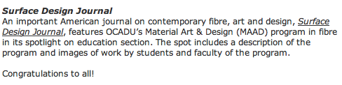 OCAD University, dorie millerson, textile, surrface design journal, toronto, canada, jon riosa